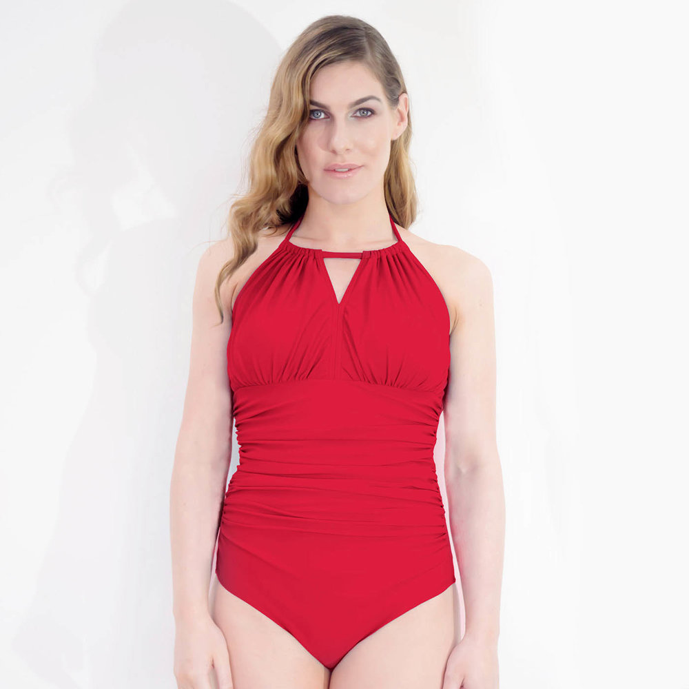 9ea325f80d2e3 Dive High-Neck Mastectomy Swimsuit - Coral Red — Clover Lewis Swimwear