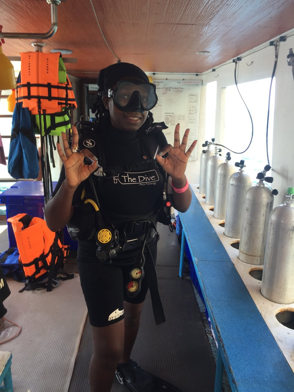 Facing my fears in my diving gear - with my bikini under my wetsuit!