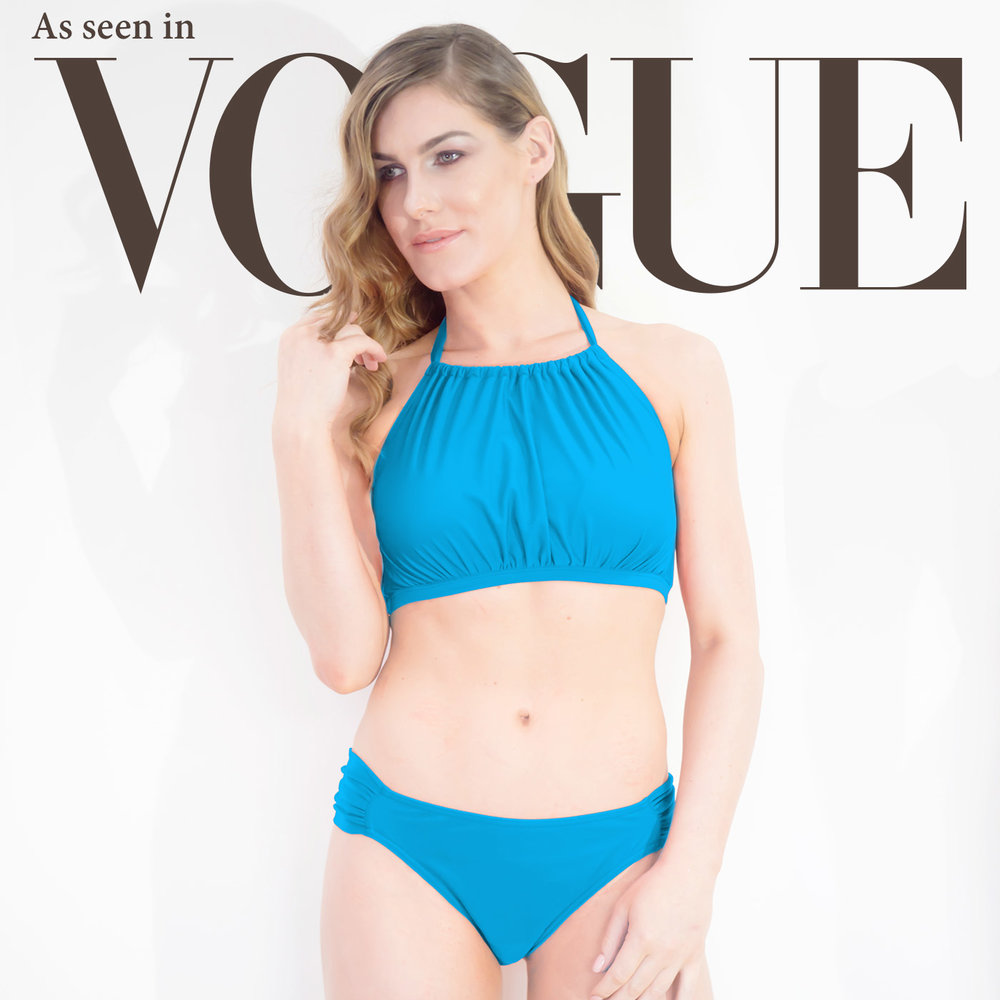 d12c10a308 Our Post-Surgery Mastectomy Swimwear range. Featured. Dive High-Neck Bikini  - Ocean Blue