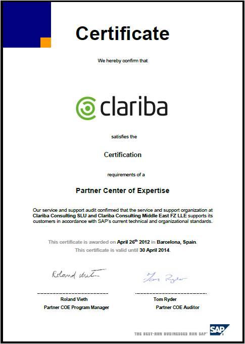 Clariba Obtains The Sap Partner Center Of Expertise