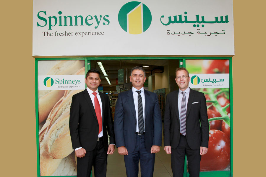 Rohith D'Souza (business analysis & development Spinneys), Qais Gharaibeh (managing director – UAE, SAP MENA) and Marc Haberaland (managing director, Clariba) at Spinneys headquarters in Dubai