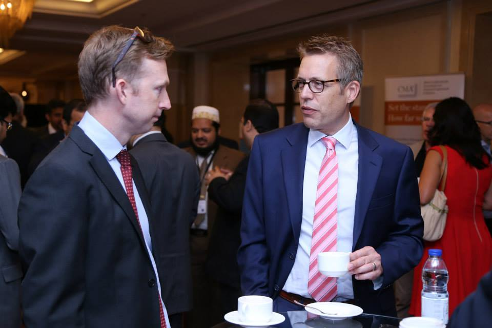 Marc Haberland networking at the MECA CFO Innovation Summit in Dubai