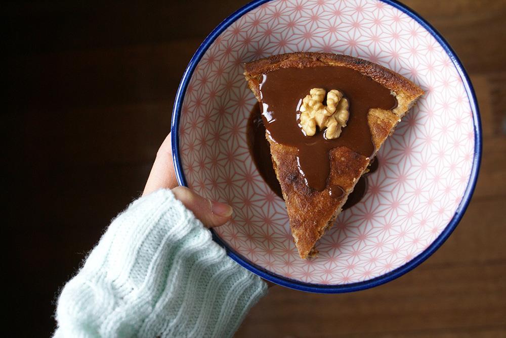 fondant banane et coulis chocolat sans gluten