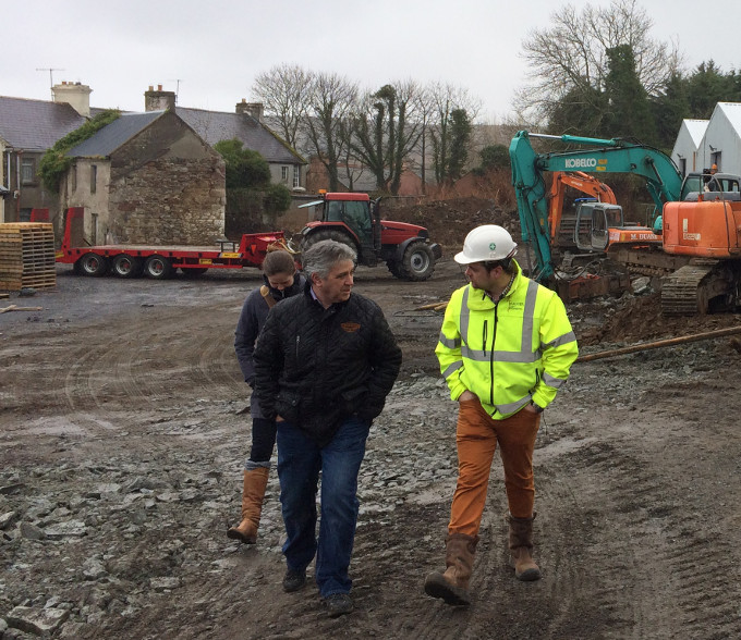 Paul Davis Dave Dagger and Sarah Quick inspect building progress at Nephin Distillery