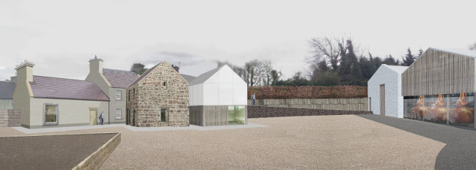 Above:   Transformation of the Nephin distillery site underway and the architects impression of what the completed distillery site will look like.  Notice the large copper pot stills visible through the glass front and the old stone granary restored to it's former glory.