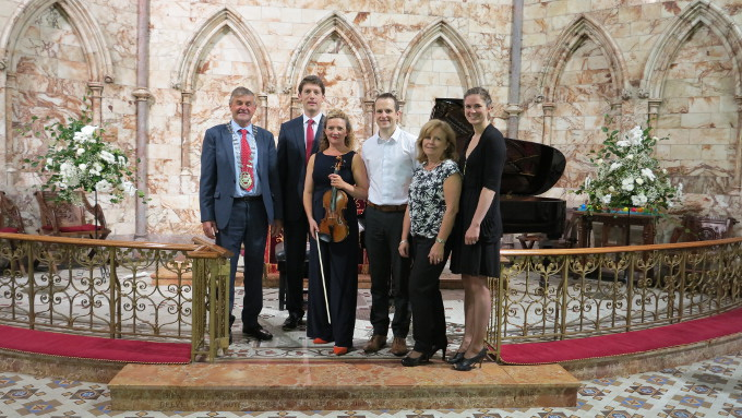 Pictured at the launch of the   Westport     Festival   of Chamber Music were (from L to R): Cllr. Michael Holmes, Cathaoirleach Mayo County Council, Pianist Finghin Collins, Violinist Elizabeth Cooney, Mark Quick, Jude Davis and Sarah Quick from Nephin Whiskey.