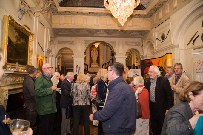 The crowd gathering in the beautiful main entrance hall of Westport House