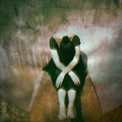 GIRL AT LISTENING VESSEL .   From  Figurative  series ;  tri-color gum bichromate. 2008  Limited Edition 4/10