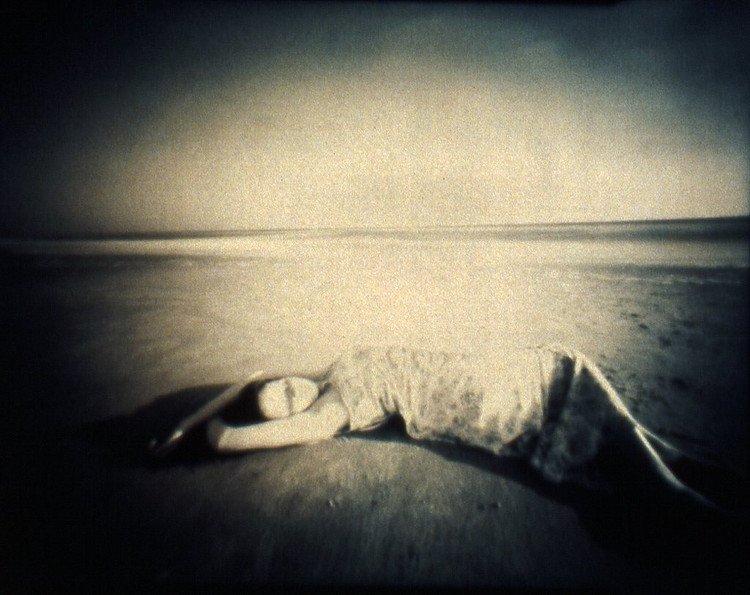 GIRL ON BEACH II  , from the  Figurative  series; cyanotype over platinum/palladium, pinhole.  Limited edition 2/10