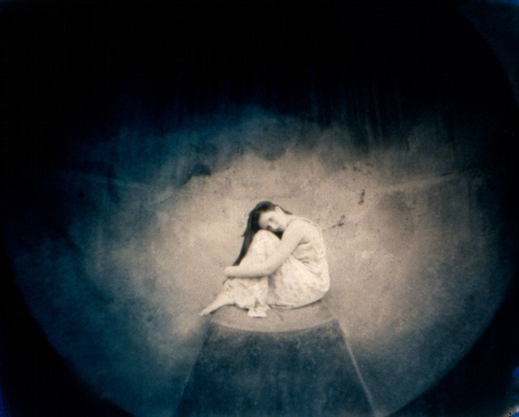 LISTENING VESSEL, EARLY EVENING,   from the  Figurative  series; cyanotype over platinum/palladium, pinhole.  Limited edition 2/10