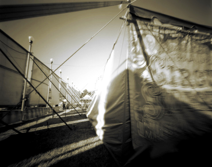 CIRCUS TENT, MIDWAY,   from  The Midway  series.  Platinum/palladium, pinhole.  Limited edition 2/10