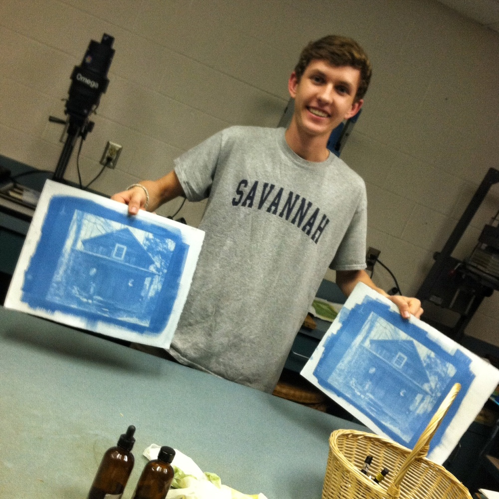 Rising senior, Axel Barth, with the cyan layers on his 'Cabin' print