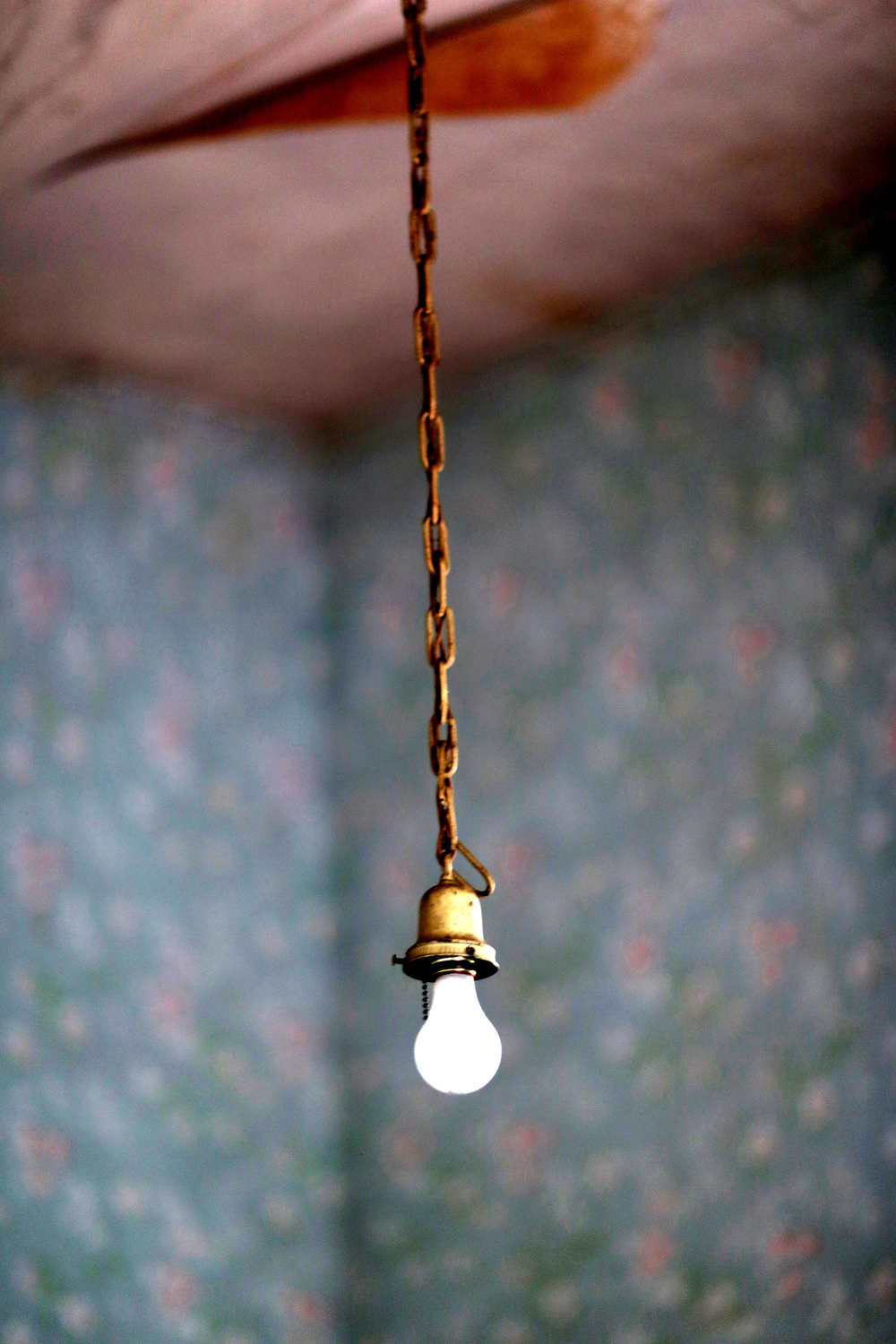 Bare Bulb & Blue Wallpaper