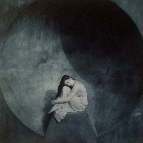 Girl at Listening Vessel, ©Diana H. Bloomfield 2016 (polymer photogravure)