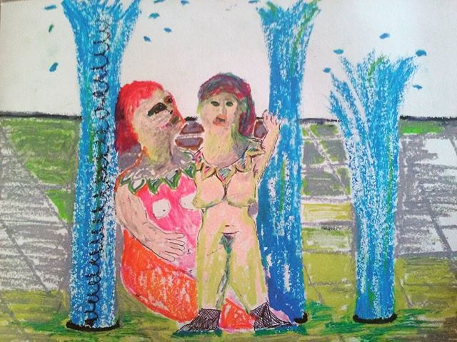 Water fountain Oil pastel on paper 2016 #harrietpoznansky #contemporarypainting #fineart #thekoppelproject #drawing #figurativepainting #motheranddaughter #waterfountain #city