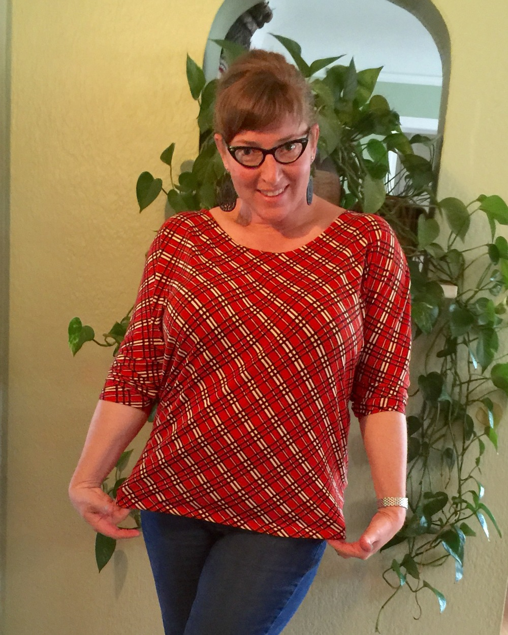 Another One Hour Top in plaid jersey. Pattern by  Fancy Tiger Crafts