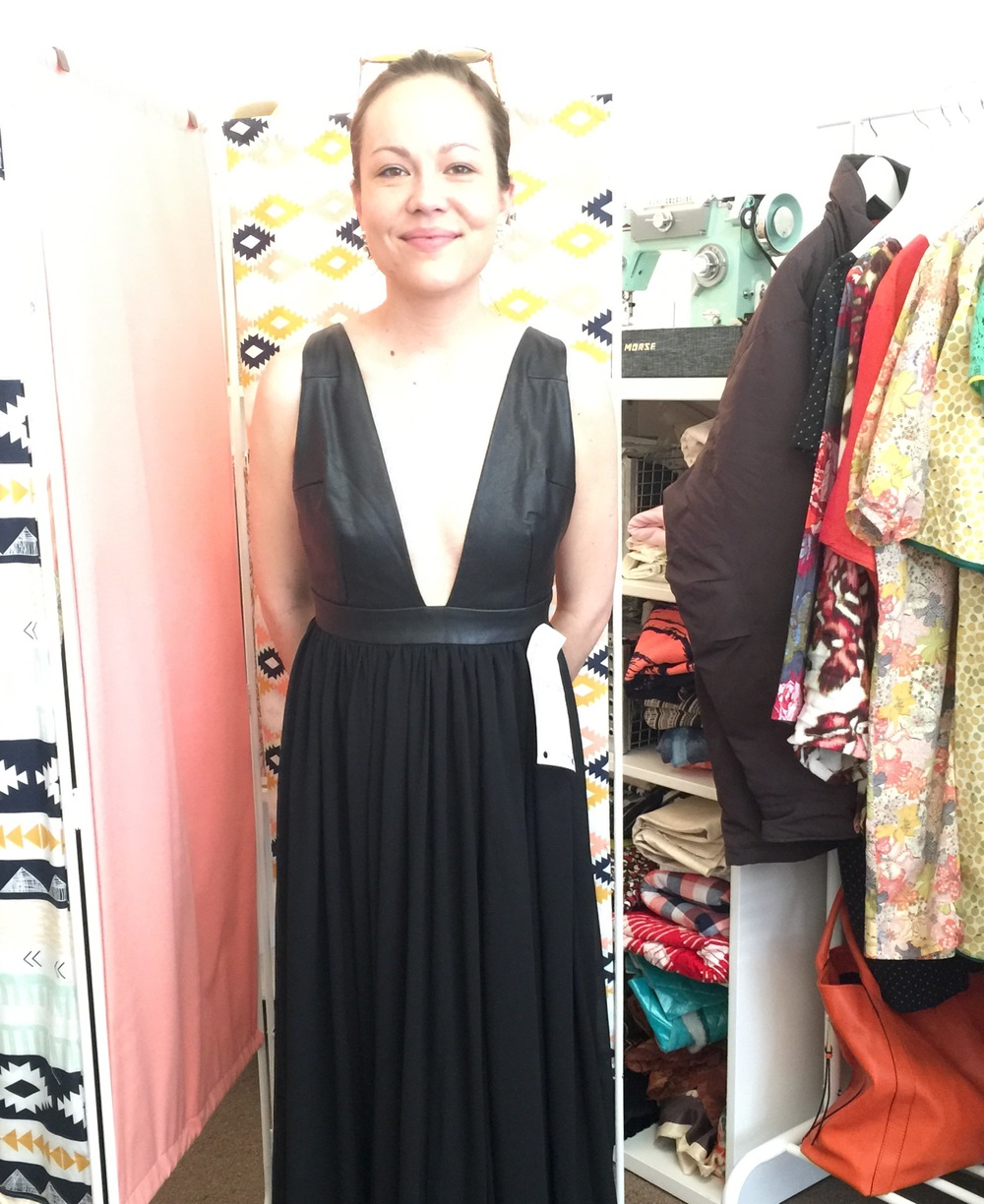 Happy client Rudy in her gorgeous dress altered to fit perfectly.