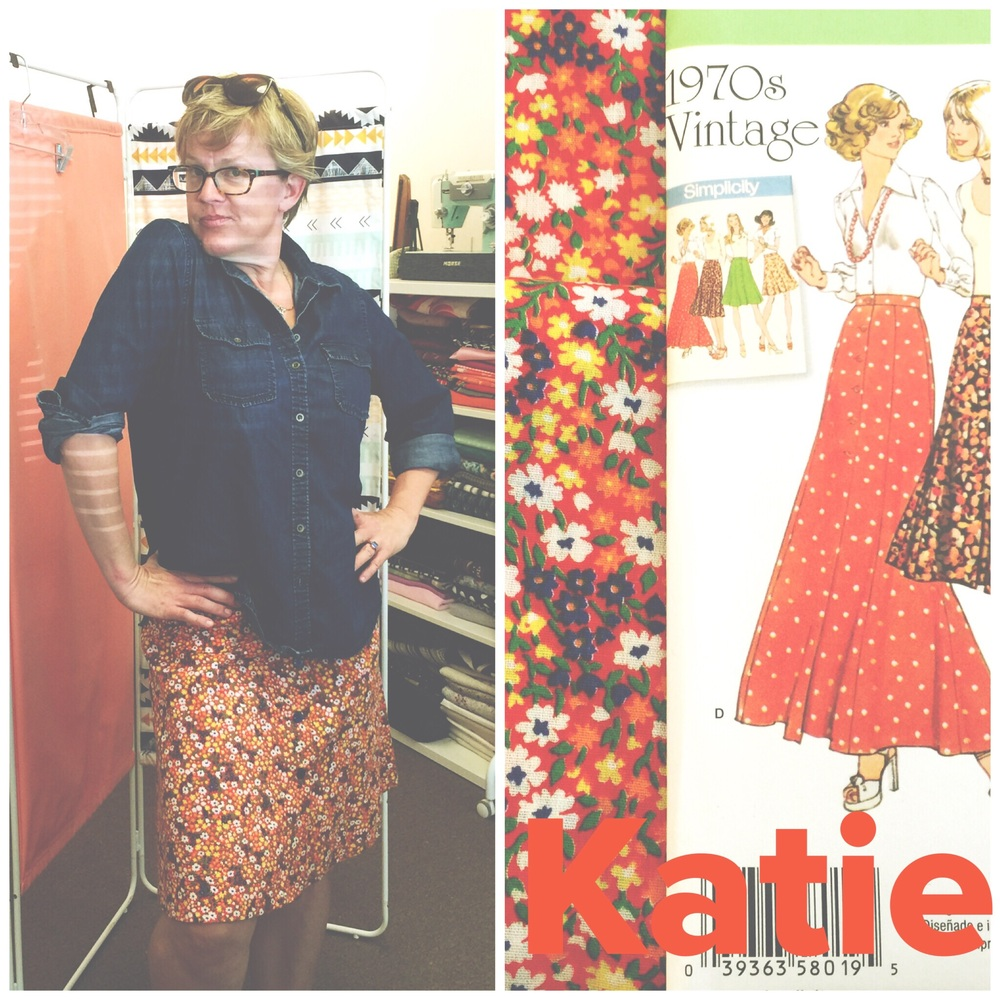 Katie and the vintage skirt I made her. Vintage fabric that she found and a reproduction vintage skirt pattern by Simplicity