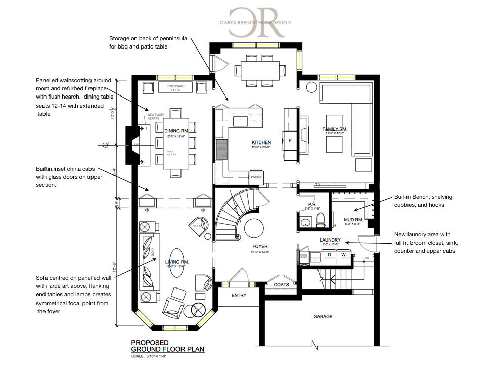Floor Plan - After (showing proposed furniture placement)  Design by: Carol Reed Interior Design Inc.