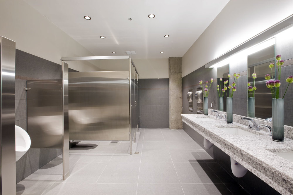Sleek Steel and Grey Bathroom
