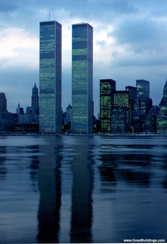 newly constructed World Trade Center towers at dusk, before Battery Park City. · World Trade Center · New York, New York