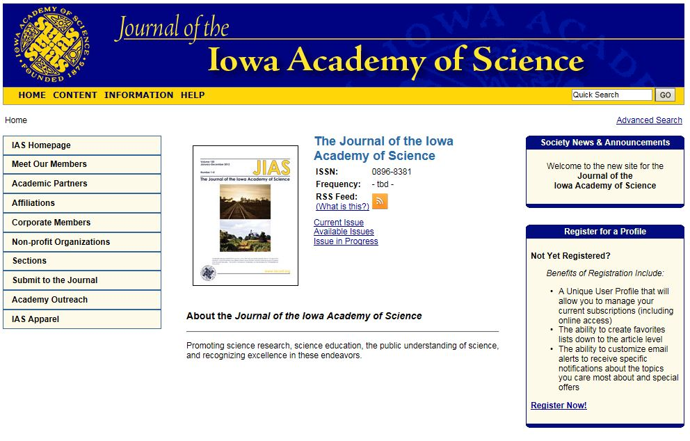 Journal of the Iowa Academy of Science Homepage