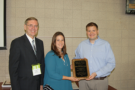 2015 Corporate Friend of Science Award was presented to Indian Creek Nature Center. Pictured from left to right: Craig Johnson, Iowa Academy of Science Executive Director, Jennifer Rupp, Indian Creek Nature Center Program Specialist and John Myers, Indian Creek Nature Center Executive Director.