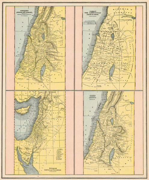 Cram 1892 Antique Print Showing Four Different Maps of the Middle ...