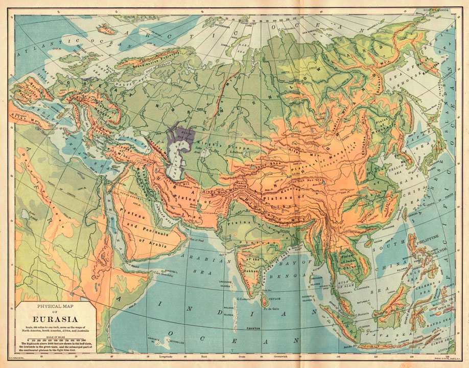 Bradley 1898 Antique Physical Map Of Eurasia. Pastpresent_2271_1944312834