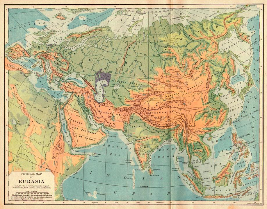 Bradley 1898 Antique Physical Map Of Eurasia. Pastpresent_2271_1944312834