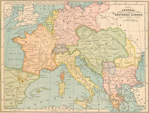 Monteith 1880 Antique Map Of Central Southern Europe Real Old