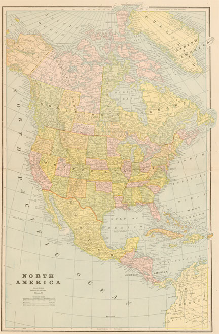Old North America Map.Cram 1895 Antique Map Of North America Real Old Art Authentic