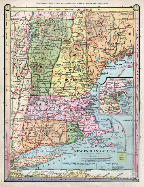Old New England Map.Monteith 1885 Antique Map Of New England Real Old Art Authentic