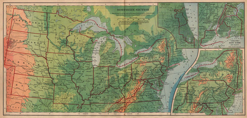 Bradley 1898 Antique Map of the Northern United States — Real Old ...