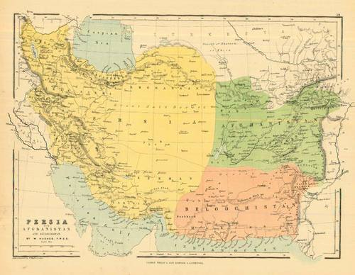 Map Of Arizona 1858.Bartholomew 1858 Antique Map Of Persia With Afghanistan Real Old