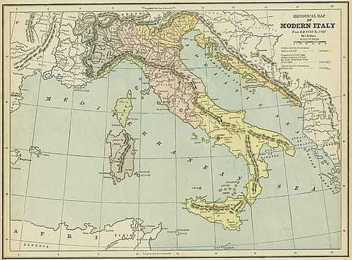 Modern Map Of Italy.Cram 1892 Antique Historical Modern Map Of Italy