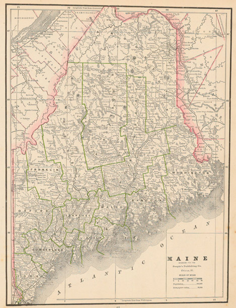 Old Maine Map.Cram 1885 Antique Map Of Maine Real Old Art Authentic Affordable