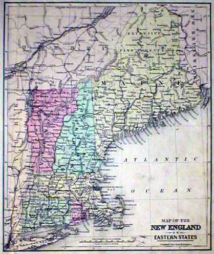 Old New England Map.Mitchell 1887 Antique Map Of New England Real Old Art Authentic