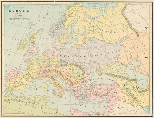 Cram 1899 Antique Map Of Europe 500 A D Real Old Art Authentic