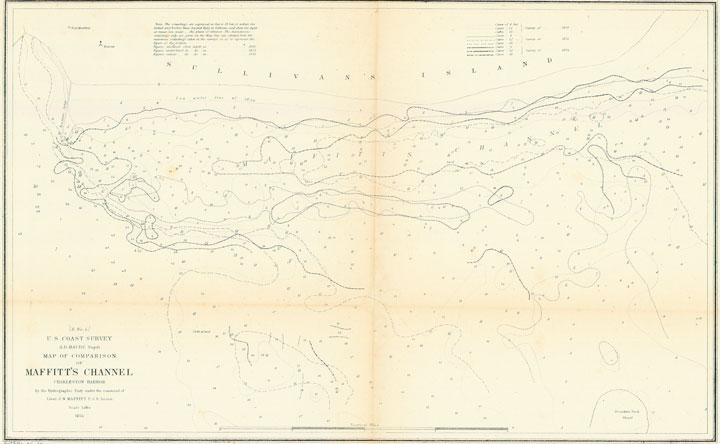 1854 U S Coastal Survey Map Of Maffits Channel Charleston Harbor - 1854-us-map