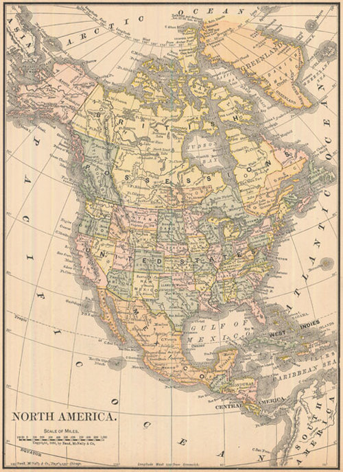 Antique Map Of North America.Mcnally 1887 Antique Map Of North America Real Old Art Authentic