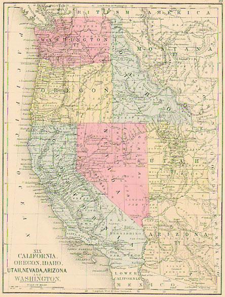 Map Of Nevada Arizona.Mitchell 1865 Antique Map Of Ca Or Id Ut Nv Az Wa Real Old
