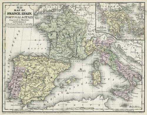 Mitchell 1852 Antique Map Of France Spain Italy Portugal Real