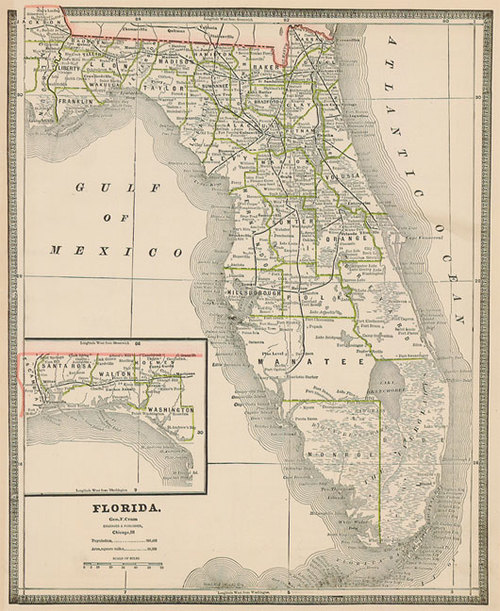 Antique Map Of Florida.Cram 1884 Antique Map Of Florida Real Old Art Authentic