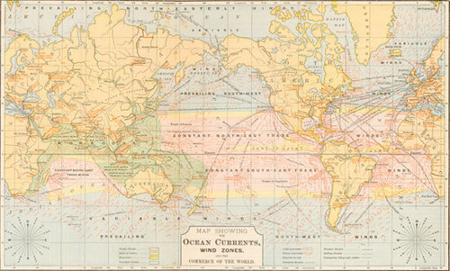 World Map With Currents.Cowperthwait 1877 Antique World Map Showing The Ocean Currents Wind