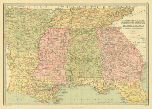Bartholomew 1873 Antique Map of Southeastern United States — Real ...