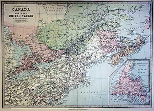 Bartholomew 1887 Antique Map of Eastern Canada & Northern U.S. ...