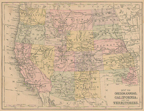 Old Kansas Map.Mitchell 1886 Antique Map Of Oregon Kansas California