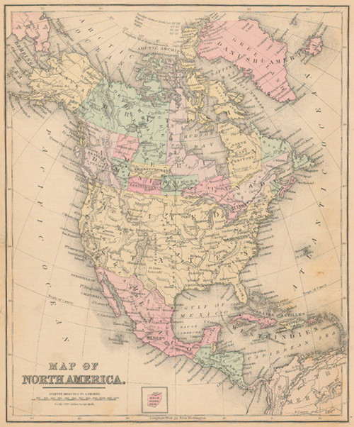 Antique Map Of North America.Mitchell 1887 Antique Map Of North America Real Old Art