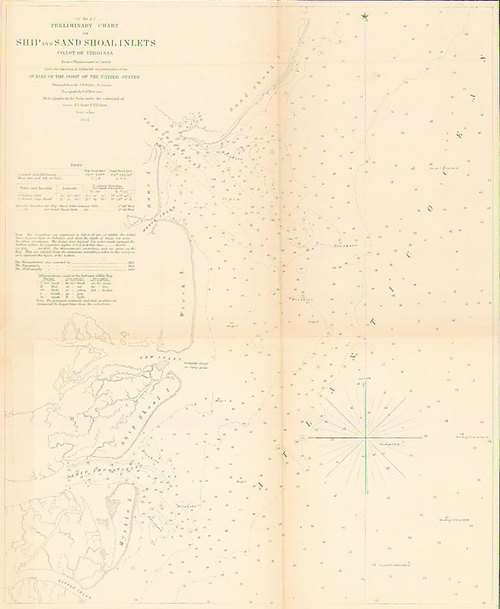 1854 Us Survey Map Of Ship Sand Shoal Inlets Coast Of Virginia - 1854-us-map